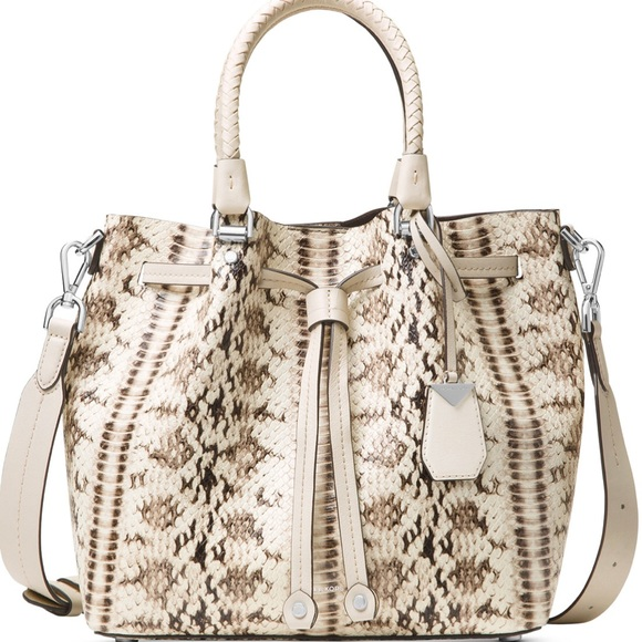 daf06d8abab2 Michael Kors Blakely Snake Embossed Med Bucket Bag
